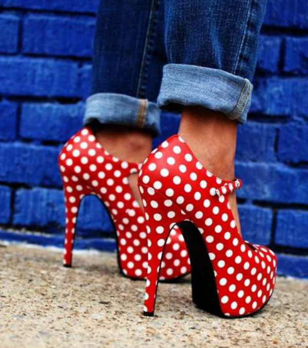 shoes minnie mouse polka dots