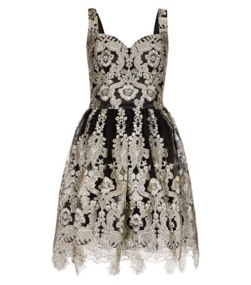 Chi Chi Black and Silver Metallic Embroidered Prom Dress