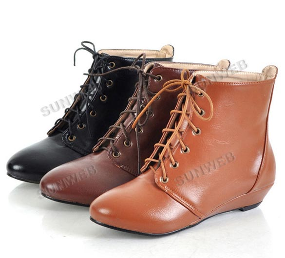 New Lace UP Round Toe Women's Leather Ankle Flats Boots Shoes Girls 3 Colors free shipping 8130-in Shoes on Aliexpress.com