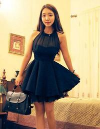 Black Stand-up Collar Sleeveless Slim Waist Globed Korean Party Dress