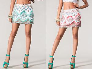 New Sexy Women's Sequin Pencil Mini Skirt with Unique Detailing s M L 2 Colors | eBay