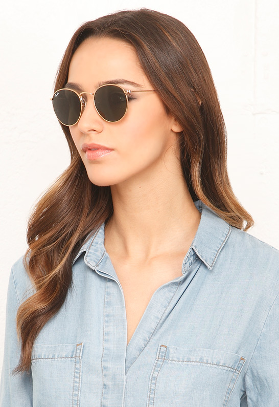 Ray-Ban Round 50mm Metal Sunglasses in Arista 001 | SINGER22.com