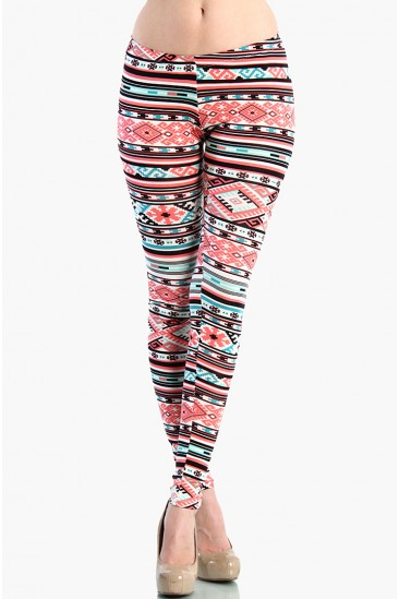 OMG Aztec Leggings - Coral / Mint