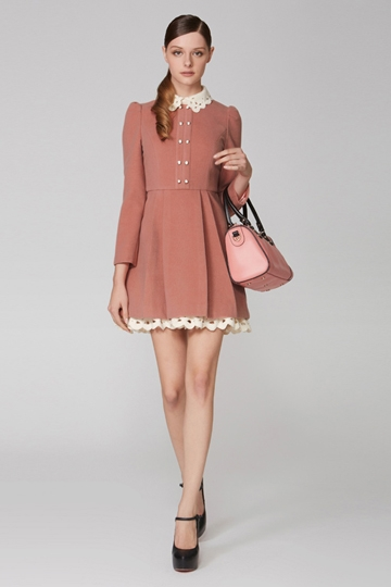 Double-Breasted Dress with Hallow-out Collar [FXBI00419]- US$ 85.99 - PersunMall.com