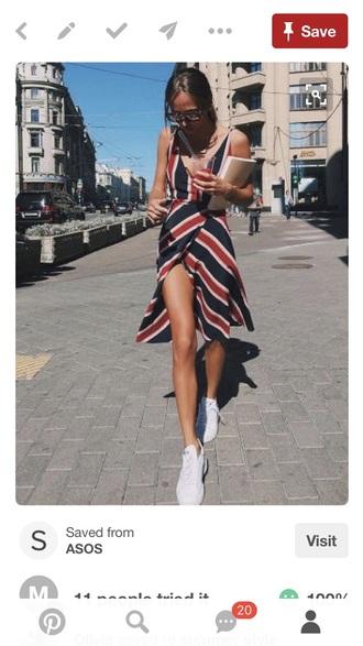 dress red striped sundress