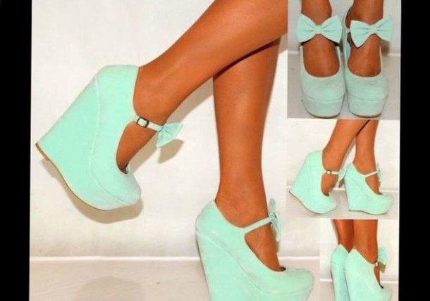 shoes heels wedges bows mint