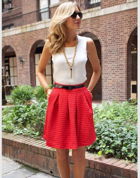 skirt pink skirt white top