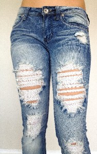 New Machine Jeans Destroyed Ripped Distressed Womens Light Blue Skinny Slim Fit | eBay