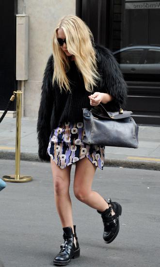 jacket mary kate olsen fur jacket bag skirt boots shoes sunglasses black fur jacket