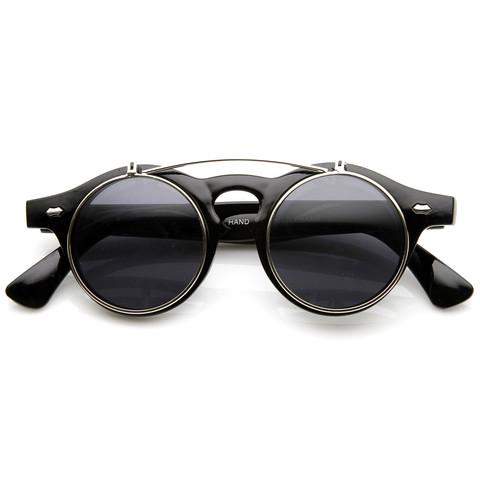 Vintage Retro Steampunk Costume Round Circle Flip Up Clear Lens Glasse                           | zeroUV