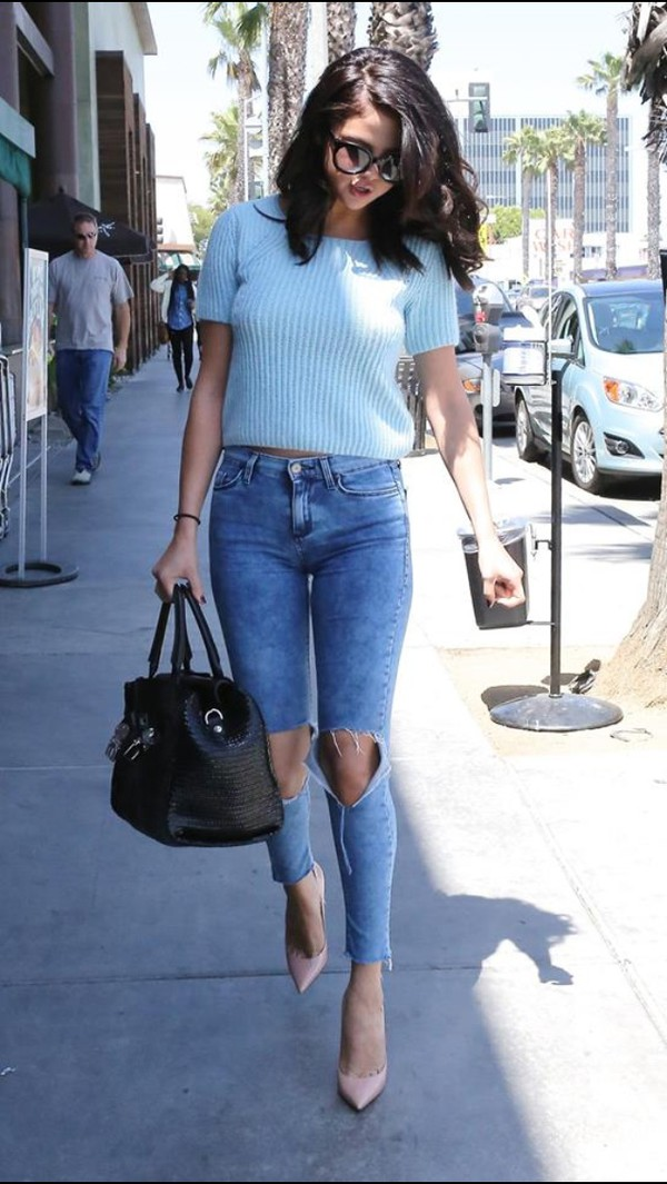 jeans selena gomez beautiful blue jeans selebrity cardigan sweater