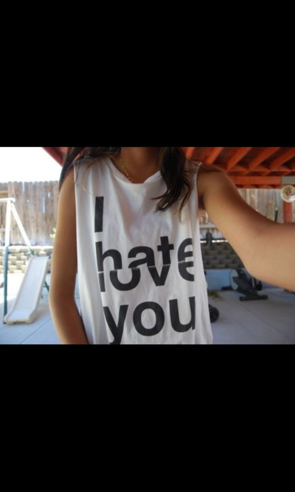t-shirt black and white hate i love you