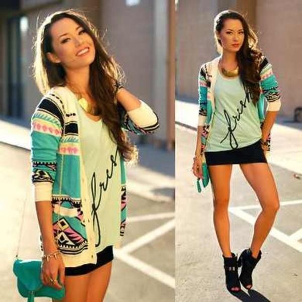 sweater cardigan tribal pattern