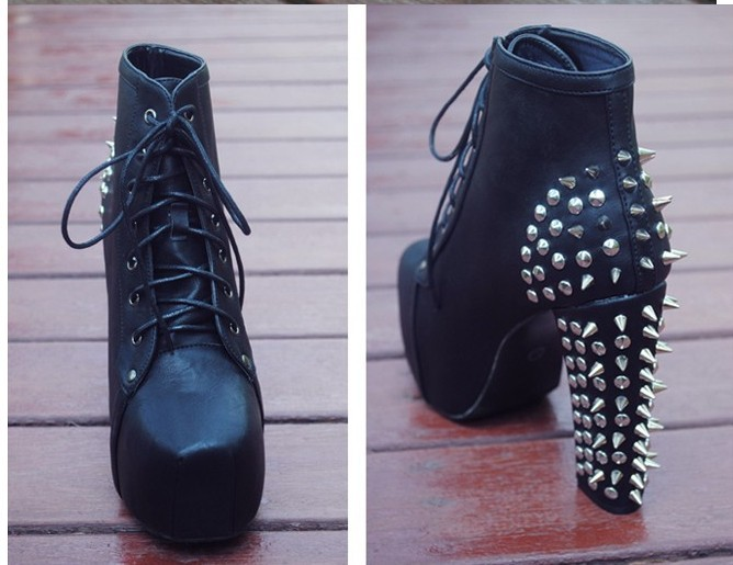 Plus size fashion punk rivets jeffrey campbell imitation lita boots women's winter platform boots female ankle high heel boots-in Boots from Shoes on Aliexpress.com