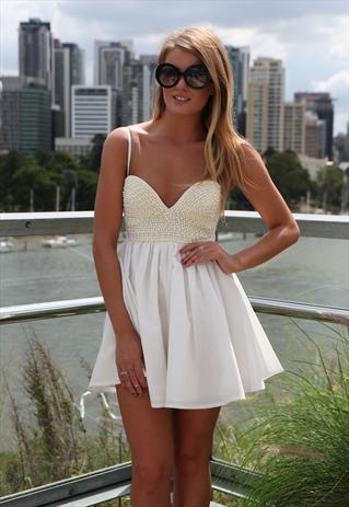 White Sleeveless Mini Dress with Pearl Embellished Top dres | Xenia Boutique | ASOS Marketplace