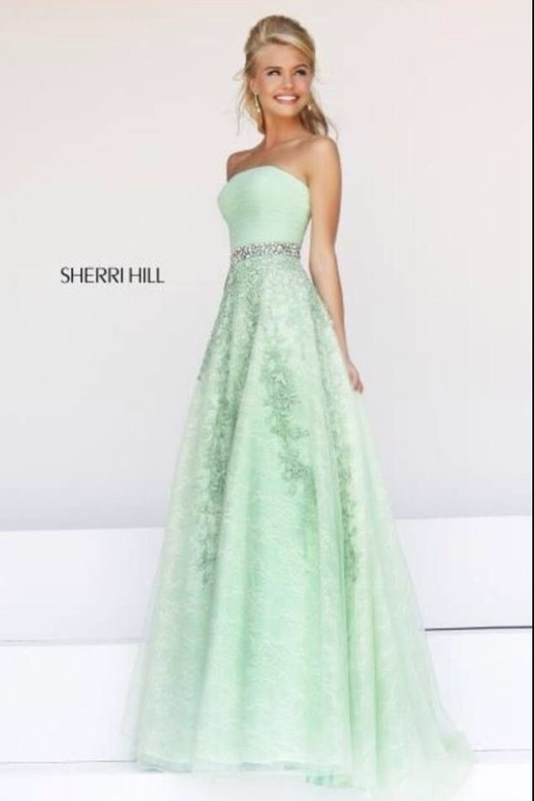 dress ball gown dress mint green ball dress green long formal dress