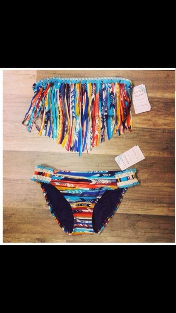 swimwear bikini aztec feathers bandeau colorful summer outfits