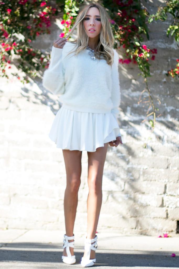 VELA SHAG FUR SWEATER - White | Haute & Rebellious
