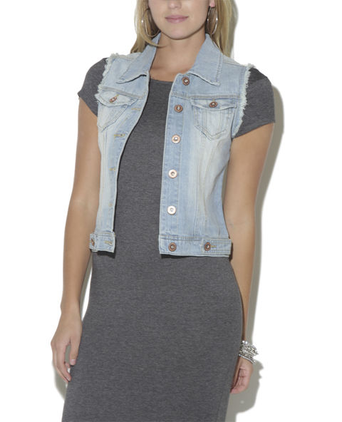 Fray Full Length Denim Vest - WetSeal