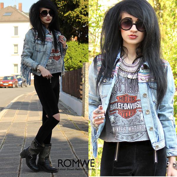 ROMWE | ROMWE Cut-out Zippered Black Slim Pants, The Latest Street Fashion