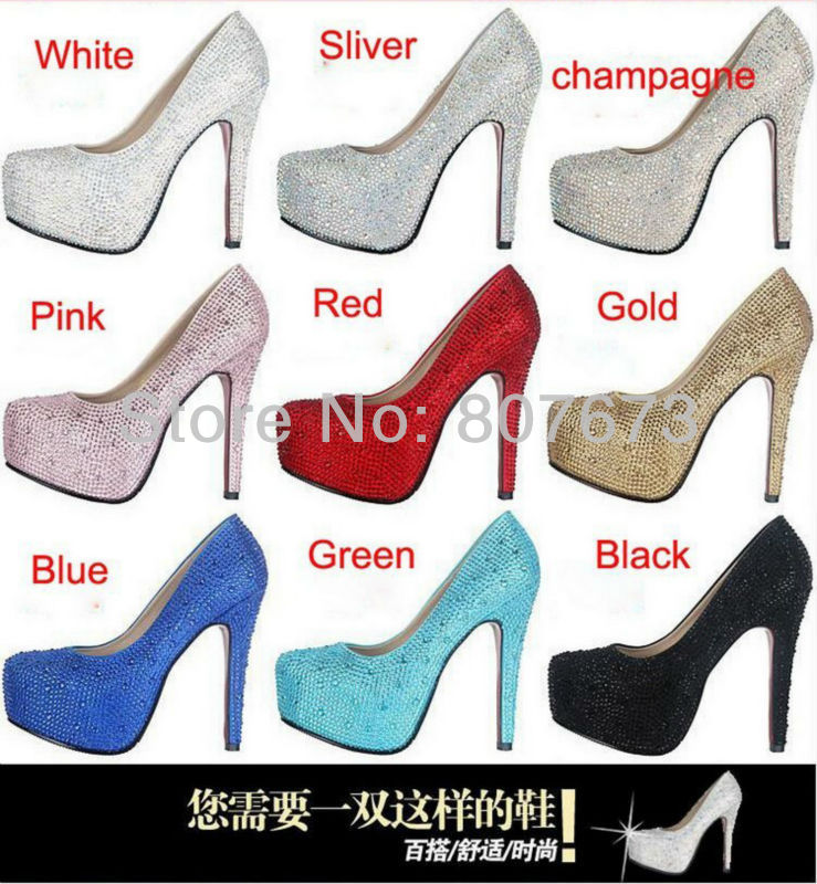 Aliexpress.com : Buy Eu33 41 wedding bridal shoes colorful appliques rhinestone crystal 11/14cm/16cm high heels pumps sliver gold (9 color)SHP21001  from Reliable shoe suppliers on Cheap Shoes Online!.