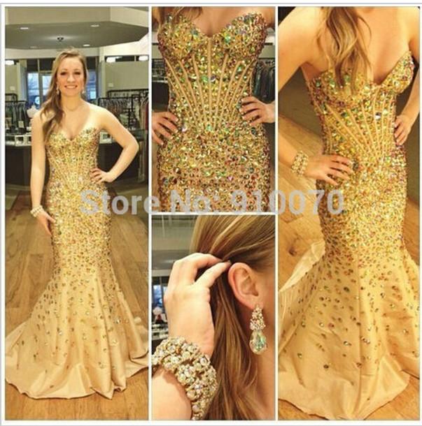 dress prom dress evening dress crystals evening dress beaded party dresses champange prom dress mermaid prom dress