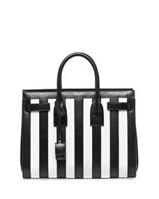 Saint Laurent Sac de Jour Striped Small Carryall Bag, Black/White