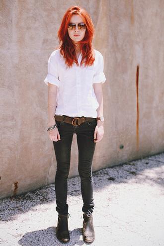 sea of shoes jeans shirt shoes belt jewels