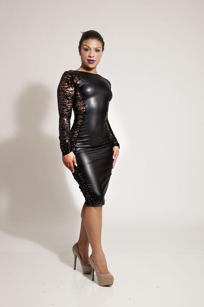 AMAZE - ME FAUX LEATHER DRESS WITH SEQUIN SIDE  / Sarah's Boutique