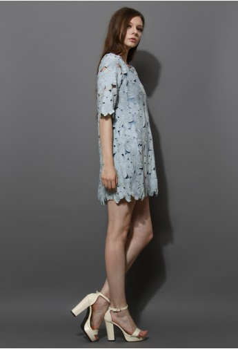 Full Flower Cut Crochet Blue Dress - Retro, Indie and Unique Fashion