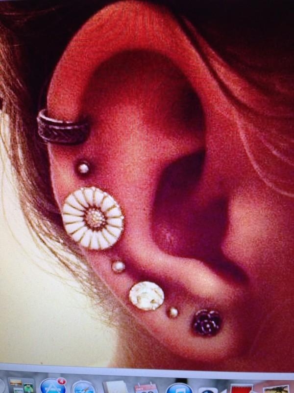 jewels earrings ear cuff jewelry flowers