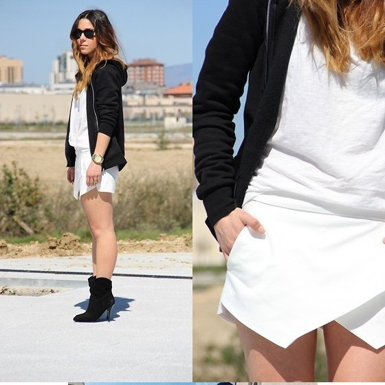 2014 Women Mixed Wool and Cotton Mini Skorts 1pc/lot  Chiffon Summer Culottes Short S/M/L Black/Blue/White 120034-in Skirts from Apparel & Accessories on Aliexpress.com