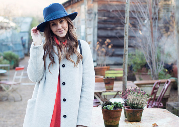 love of cloth blogger hat coat red sweater