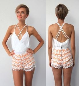 WHITE CRISS CROSS CAGED BACK BACKLESS PLUDGING NECK BODYSUIT LEOTARD XS S M L | eBay