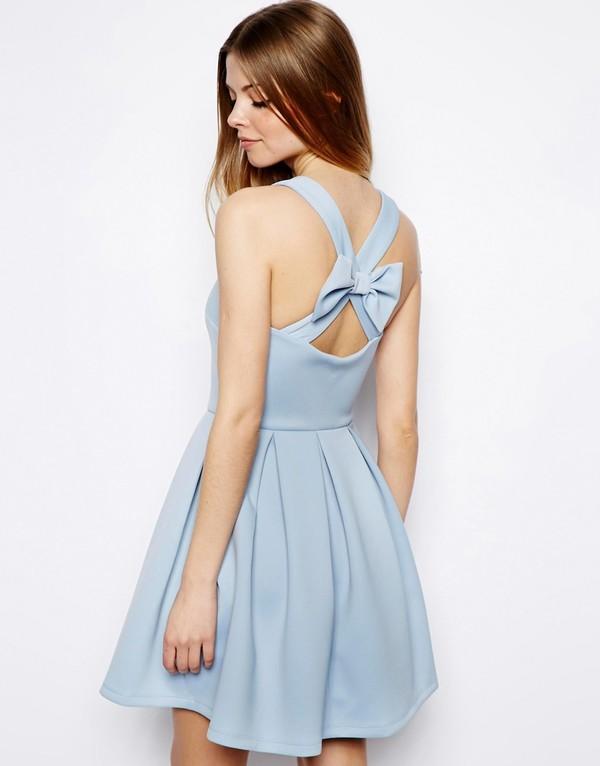 dress asos bow back skater dress skater dress bow dress blue dress