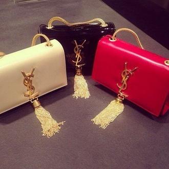 bag yves saint laurent clutch tassel red beige