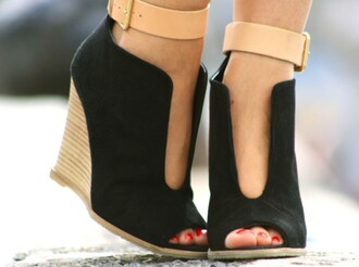 shoes wedges peep toe booties black wedges pumps open front ankle strap