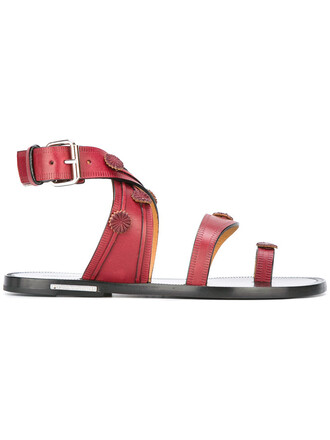 women sandals leather red shoes