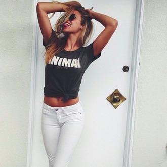 t-shirt animal wild white