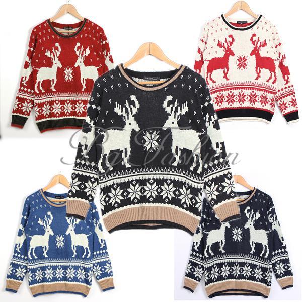 Pullover Christmas Women Geometry Deer Long Sleeve Knit Winter Jumper Sweater   eBay