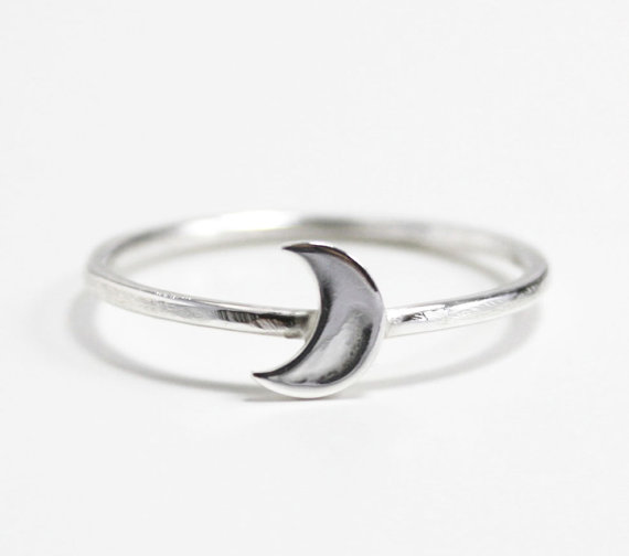 moon ringstacking ring crescent moon ring by ZennedOut on Etsy