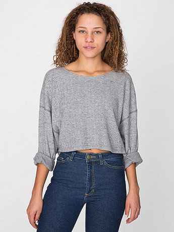Herringbone Cropped Reversible Easy Sweater | American Apparel