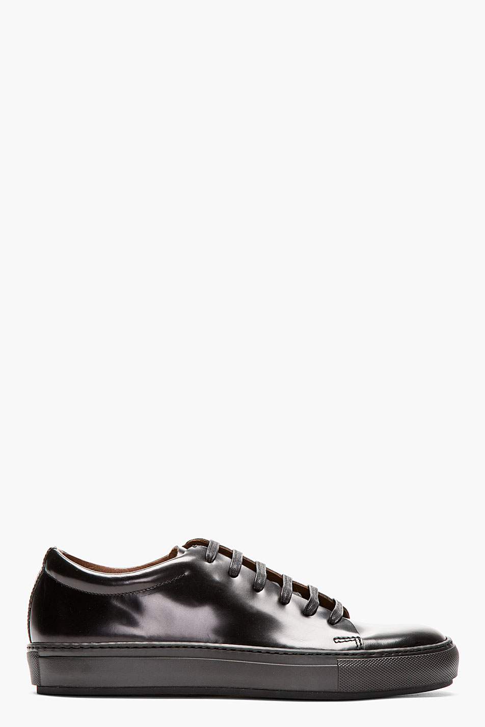 acne studios black polished leather sneakers