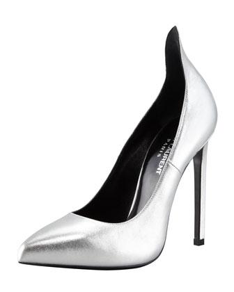 Saint Laurent Metallic Exaggerated-Heel Pump, Silver - Bergdorf Goodman