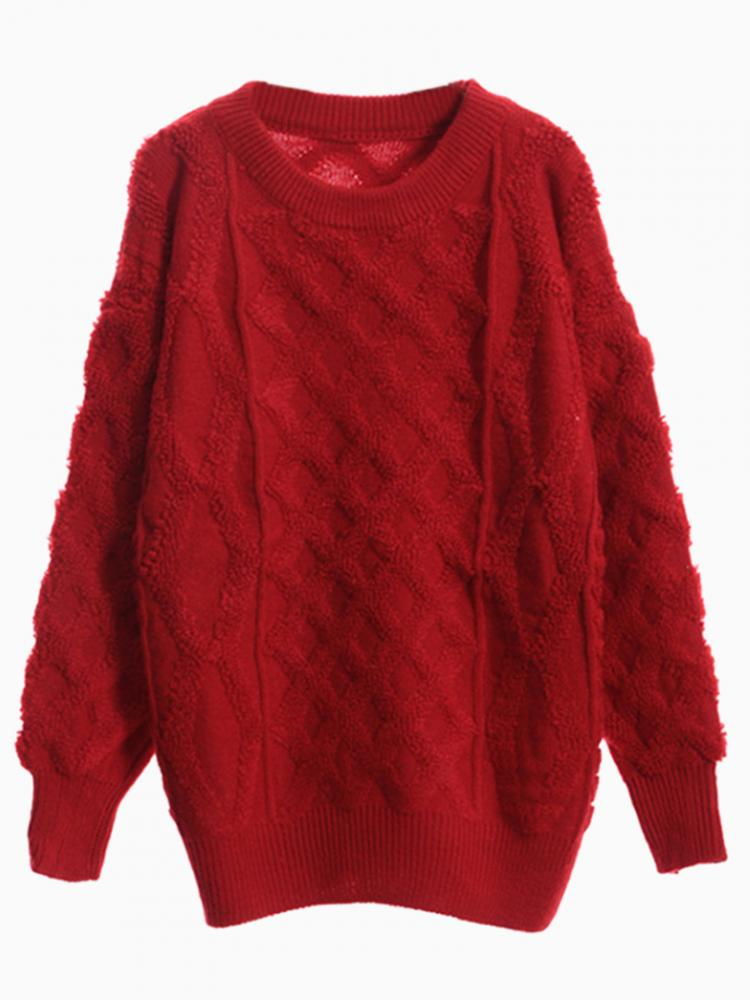 Red Cable Loose Jumper | Choies