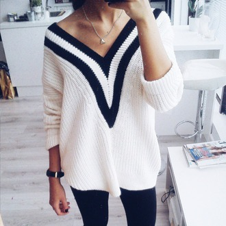 top sweater style white sweater striped sweater srtipes lovely love pretty hipster fashion black and white winter sweater winter outfits trendy shirt blouse v-neck cardigan sweaters knitwear wool shirt leggings necklace white shirt black shirt black leggings gold necklace black and white shirt white black black and white stripes