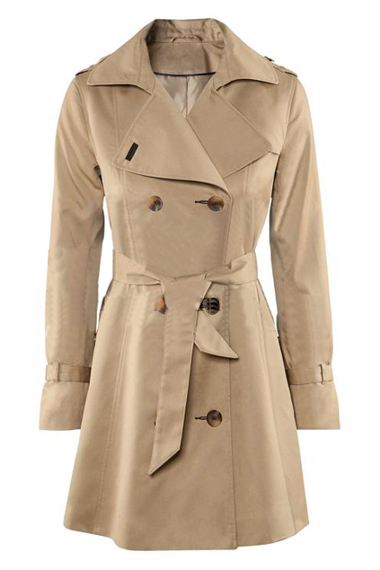 ROMWE   Lapel Belted Slim Cream Trench Coat, The Latest Street Fashion