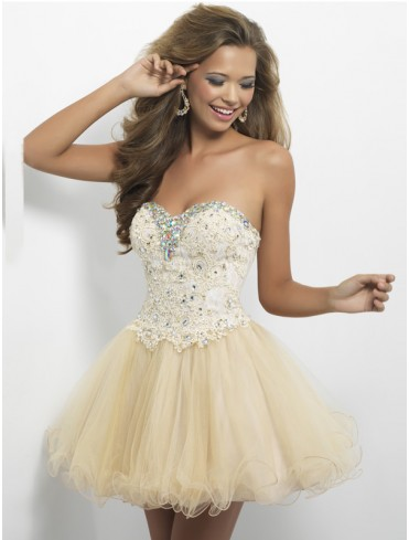 UK Dresses 30-75% Off - Sweetheart A-line Sleeveless Short/Mini Tulle Homecoming Dresses/Short Prom Dress #WX884