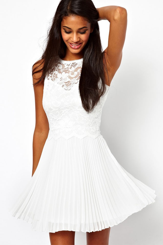 Free shipping   Lowest price New Sexy Pure White Lace Skater Dress with Pleated Skirt LC2902-in Dresses from Apparel & Accessories on Aliexpress.com