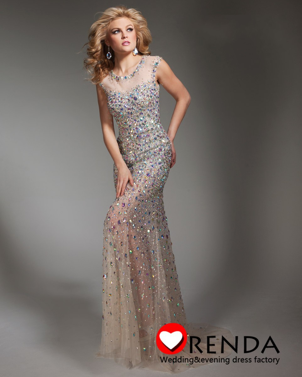 2014 Tony Bowls Sparkling Champagne Rainbow Crystals Heavy Beads Backless Sexy Mermaid Evening Dresses Women Long Prom Gowns-in Evening Dresses from Apparel & Accessories on Aliexpress.com